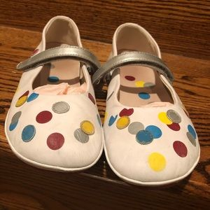 Camper Girls White/Confetti Leather Mary Janes 3.5
